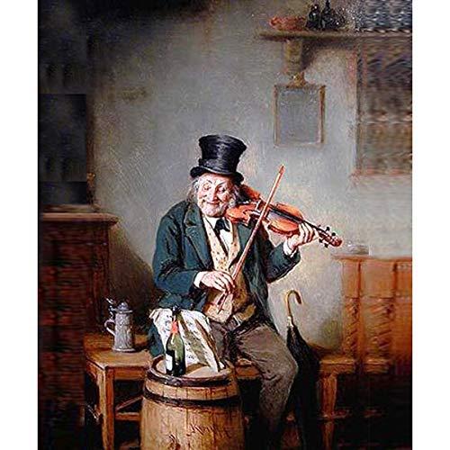 LPHMMD Wanddekoration Malerei Abbildung Ölgemälde Geiger Holzbläser Wandkunst Malerei Leinwand Wohnzimmer Dekoration-70x100cm