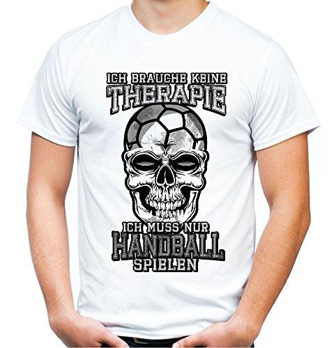 Therapie Skull Handball Männer und Herren T-Shirt | Sport Totenkopf ||| (XXL, Weiß)