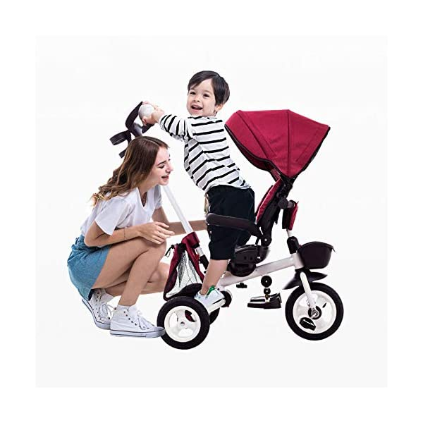 Childrens Folding Tricycle 12 Months To 6 Years 360° Swivelling Saddle Childrens Tricycles Seat Can Be Adjusted Back Folding Sun Canopy Handle Bar Kids Tricycle Maximum Weight 25 Kg,Purple BGHKFF ★Material: Carbon steel + environmental protection paint, suitable for children from 1 to 6 years old, the maximum weight is 25 kg ★ 4 in 1 multi-function: can be converted into a stroller and a tricycle. The seat can be rotated 360°, parent-child interaction, and can also move back and forth ★Safe design: three-point seat belt, front wheel clutch, safer on the way, rear wheel brake, lock rear wheel 2