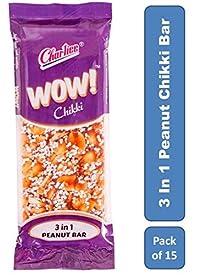 Charliee 3-in-1 Peanut Chikki Candy Bars - Wow Chikki - Groundnut Jaggery Chikki Jar - High Protein - Healthy Indian Sweet 27 g Each - Pack of 15
