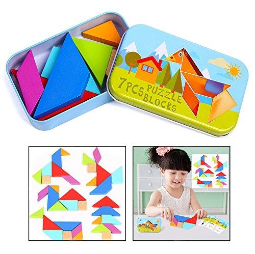 OFKPO Kinder Tangram Legespiel aus Holz,Bunt Geometrisch Puzzle Spielzeug mit Box