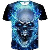 HCFKJ T-Shirt Blusen Herren, Schädel 3D Printing Tees Shirt Kurzarm T-Shirt Bluse Tops (XL, BU)