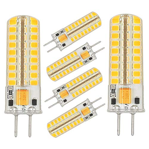 Jc Typ G4 Bi-pin (GY6.35 G6.35 LED-Leuchtmittel, dimmbar, GY6.35 Bi-Pin Sockel, 5 W AC/DC 12 V, Warmweiß, 2700K-3000 K, G6.35/GY6.35 Sockel, T4 JC Typ LED Halogen-Glühlampen, 50 W, Ersatz Glühbirnen (6 Stück))