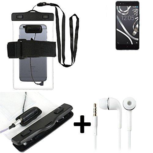 Für BQ Readers Aquaris X5 Cyanogen Wasserdichte Hülle mit Kopfhörereinlass + headset, transparent Jogging Armband Wasserfeste Handyhülle beach bag outdoor Beutel Schutzhülle Unterwasser case