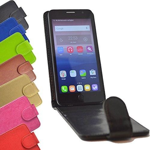 Flip Case für TP-LINK Neffos C5A Smartphone Handy Hülle Tasche Slide Kleber Schutz Cover Etui Schutzhülle Handytasche Flip Style in Schwarz Farbe
