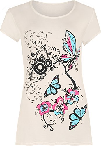 WearAll - Femmes Buttefly Imprimer Manches Courtes T-Shirt Baggy Top - Femmes - Hauts - Tailles 42-48 Crème