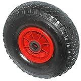 HKB ® Gummi-Reifen 3.00-4 (ø=260mm, Breite 85mm, Achse-ø 20mm) Sackkarrenrad mit Schlauch u. roter Kunststofffelge mit Gleitlager Tragkraft 130kg, auch für Bollerwagen, Artikel-Nr. 9003000