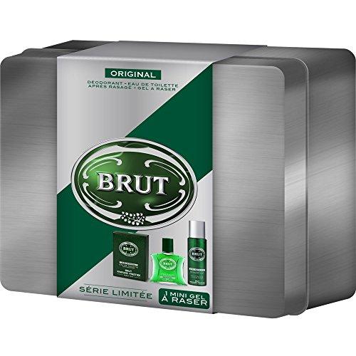 Brut Coffret cadeau homme Original - Eau de toilette + déodorant + gel à raser + après rasage + boite acier