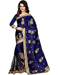 Sarees For Women'S (Saree For Indian E Fashion Embroidered Multi-Coloured Half And Half Georgette Sarees For Women...