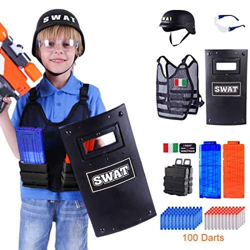 GUOGUO Kinder Battle Weste Kinder 6-12 für Nerf Series, Taktische Weste Jacken mit 100 Darts, 2er Clip Magazin, Schutzbrille Brille, Helm, Schilde, Magazine, Logo