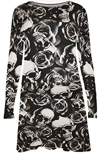Damen Kleid mit Totenkopf-Muster, lange Ärmel, Größe 34 - 52 - SKULL PRINT