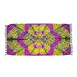ManuMar Damen Sarong | Pareo Strandtuch | Leichtes Wickeltuch mit Fransen-Quasten (L: 115 x 225 cm, Pink Gelb Schwarz Mandala)