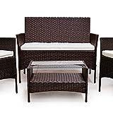 SVITA POLY RATTAN Sitzgruppe Essgruppe Set Farbwahl – Cube Sofa-Garnitur Gartenmöbel Lounge Farbwahl (4er Garnitur, Braun) - 2