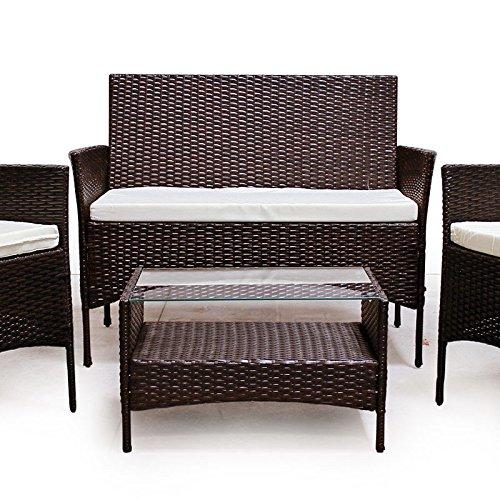 POLY RATTAN Lounge Gartenset Sofa Garnitur Polyrattan Gartenmöbel (Braun) -