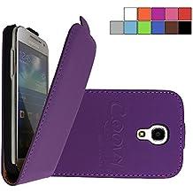 COOVY® COVER CASE CUBIERTA DELGADO FUNDA PROTECTORA CON TAPA PARA Samsung Galaxy S4 MINI GT-i9190 GT-i9195 GT-i9192 con lámina projoectora de pantalla color morado