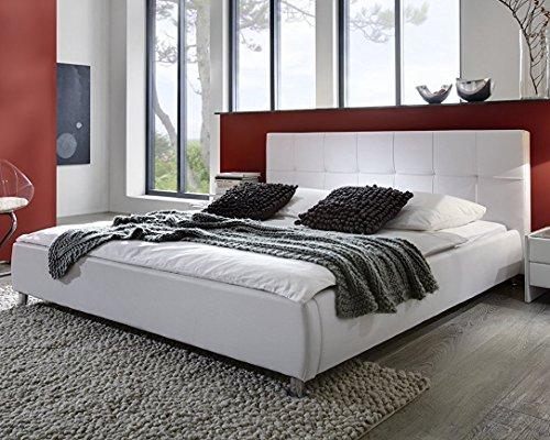 SAM Polsterbett 180x200 cm Zarah, Kunstleder weiß, Bett mit chrom-farbenen Füßen, Kopfteil im abgesteppten Design [53256018]