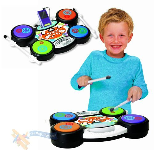 Childrens-I-Drum-Electronic-MP3-iPod-Plug-Play-Drum-Set-Kit-Music-Toy