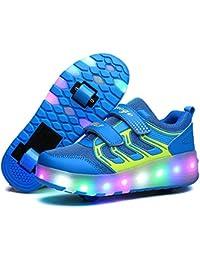 Licy Life-UK Unisex Enfants Chaussures de Multisports Outdoor avec roulettes Doubles Bouton Poussoir Ajustable Inline Skates Baskets Course à Pied Sneakers Pour Fille Garçon