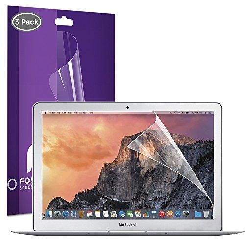 Macbook Air 13 Zoll Display- Schutz- Folie (3 Stück) Fosmon [HD Kristall Klar] Bildschirm / LCD Folie [+ Reinigungsset] [Anti-Fingerabdruck][Antikratz, Bruchsicher & Blasenfrei][Leicht Anzubringen] Ultra Clear Panel Lcd