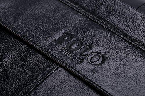 VIDENG POLO Valigetta di pelle, fatto a mano Borsa del portatile Messaggero Borse da viaggio per Uomini (Nero-NP) Nero-NP