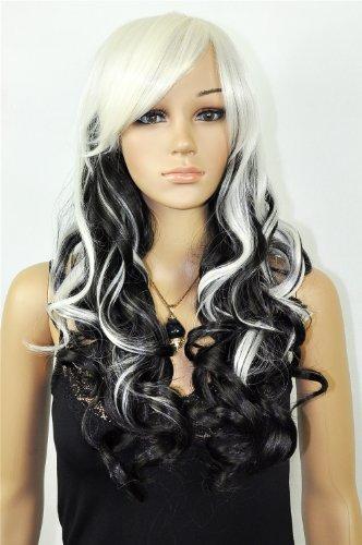 QIYUN.Z Femme Longue Frisé Ondule Boucle Natural Looking Synthetique Fibre Cap Complete Cheveux Perruque