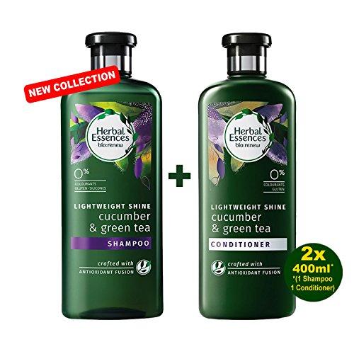 Herbal Essences Glanz (HERBAL ESSENCES Bio-Renew Lightweight Shine CUCUMBER & GREEN TEA Shampoo & Pflegespülung 2x 400ml - mit Gurke & Grüner Tee)