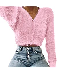 ZahuihuiM Frauen Faux plüsch Kurze Pullover Langarm v Kragen Mode Pullover  Jeans Pullover nehmen Foto Pullover 686022ce7c