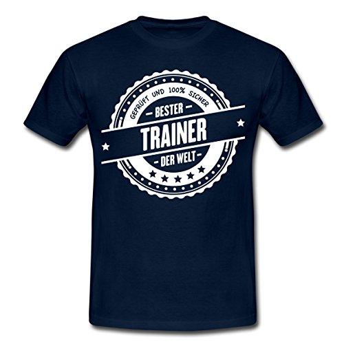 Spreadshirt Bester Trainer der Welt Auszeichnung Männer T-Shirt, L, Navy (Sportliche Auszeichnungen)