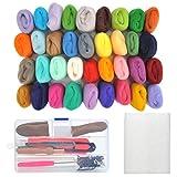 WOWOSS Needle Felting Wool Kits & Felting Tool, Merino Wool Fiber Roving Material 36 Colors Felting Needles Starter Kits DIY for kids and Families Stitching Beginner