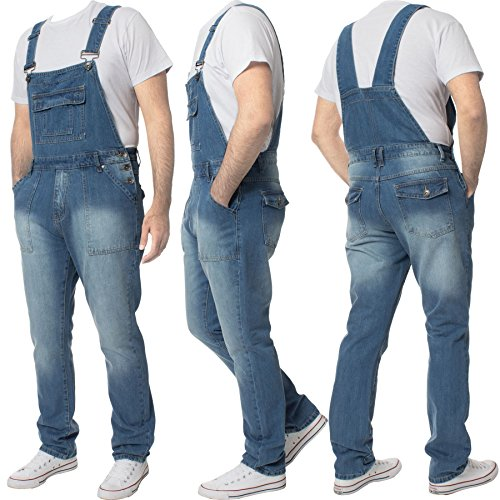 Enzo Jeans Mens Denim Stonewash Blue Dungarees Dungaree King Size Overalls 30