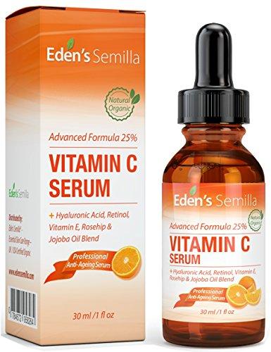 Sérum Vitamine C 25% - 30ml - Une formule puissante et avancée - Acide Hyaluronique, Rétinol, Vitamine E et un mélange d'huile d'Eglantier et de Jojoba. Le meilleur sérum anti-âge pour le visage - Renforce les défenses naturelles de la peau, hydrate la peau et réduit remarquablement les rides et ridules. Un mélange naturel d'ingrédients cliniquement reconnus et approuvés. Pour une peau plus ferme, plus élastique, plus forte et plus saine.