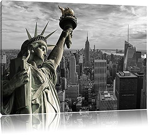 Statue géante de la Liberté à New York Noir / Blanc, Taille: 100x70 sur toile, XXL énormes Photos complètement encadrée avec civière, impression d