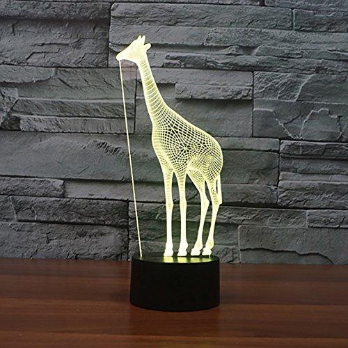 orangeww 3D Creative Giraffe Lampe 7 Farbe Atmosphäre Led Nacht Für kinder Touch USB Lampe Baby Schlafen Nachtlicht Tier Kawaii Einhorn Lampe Kollege Freund Bar Decor geschenke -