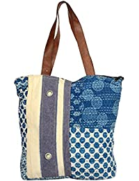 Priti Vintage Design Rugs & Canvas Patch Work Utility Tote Bag Handbag