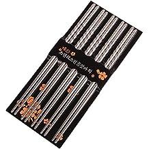 STRIR Palillos de 5 pares de metal reutilizables de Corea del acero inoxidable Chop Sticks
