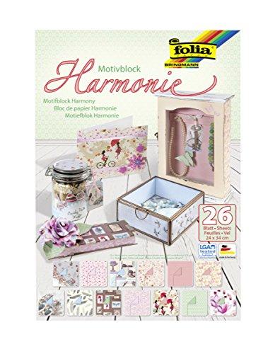 Preisvergleich Produktbild Folia 47449 - Motivblock Harmonie, 24 x 34 cm, 26 Blatt sortiert