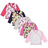 TupTam Baby Mädchen Langarm Wickelshirt Baumwolle 5er Set, Farbe: Mehrfarbig 1, Größe: 68