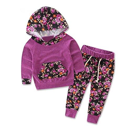 Minetom Neugeborenes Baby Jungen Hoodie Sweatshirt Drucken Baumwolle Strampler Kinder Langarm Blumendruck Anzug Top + Pants Frühjahr-Sommer Kleiderset(6 - 36 Monate) Lila 90 (American Top Lila)