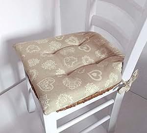 N 4 cuscini copri sedia coprisedia per cucina cuori panna for Cuscini amazon
