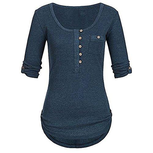 TUDUZ Damen Langarm Knopf Bluse Pullover Tops Tunika Oberteile Shirt mit Taschen (M,Marine)