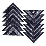 Kurtzy 12er Set Paisley Blaues Western-Stil Kopftuch Bandana Set Großes Schal Set für Frauen, Männer und Kinder - Bandanas als Halstuch, Taschen, Hunde und Mode-Accessoires 100% Baumwolle