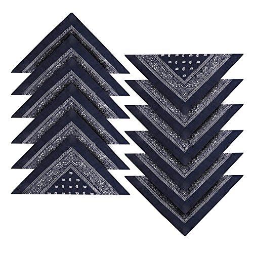 ley Blaues Western-Stil Kopftuch Bandana Set Großes Schal Set für Frauen, Männer und Kinder - Bandanas als Halstuch, Taschen, Hunde und Mode-Accessoires 100% Baumwolle (Hund Kostüm Geschenk)