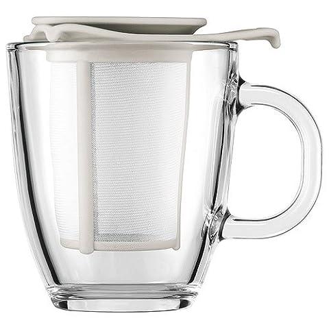 Bodum K11239-913 Yo-Yo Set de Mug/Filtre Verre/Nylon Blanc 0.35 L