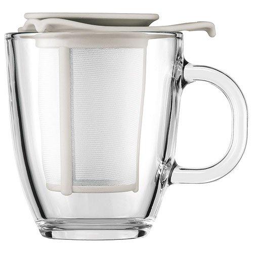 Bodum - K11239-913 - Yo-Yo Set - Tetera individual - 0,35 l - taza de cristal - filtro y tapa de plástico - color blanco crema