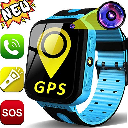 GBD Kids Smartwatch GPS Tracker para Niños 1.44 \'\' Pantalla Táctil Rastreador GPS Reloj Teléfono para Niños Niñas con Cámara SOS Niños Perdido Anti Reloj Pulsera Regalos de Cumpleaños (Azul)