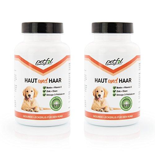 HAUT & HAAR mit Bierhefe, Biotin, Omega-3 Fettsäuren, Vitamin-B-Kompex, Vitamin E, Zink & Eisen - Premium Ergänzungsfutter für Ihren Hund – Gesunde Haut, Pfoten & kräftiges Fell