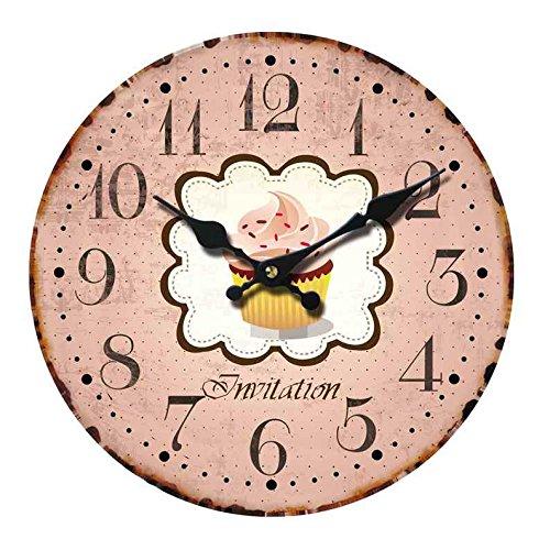 Wanduhr - Holz Küchenuhr mit großem Ziffernblatt aus MDF, Retro Uhr im angesagtem Shabby Chic Design mit leisem Quarz-Uhrwerk, Ø: 34 cm, Muster Uhr:Cupcake rosa