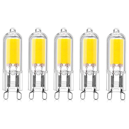 Bonlux Lampadine LED COB G9 Bianco Freddo 6000K, Lampadine Alogene G9 10W-20W LED, 200 Lumen, per Lampadario, Lampada da Tavolo, Applique ecc. (Non Dimmerabile, 5 pz)