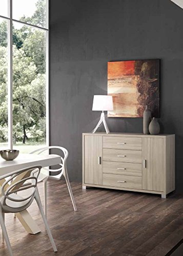 Amal madia moderna contromobile con cassetti centrali Design - Bianco / Rovere rustico