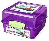 Sistema Lunch Cube Lunchbox mit drei Fächer, Violett